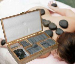 ערכת אבני בזלת לחימום ולשימוש בעיסוי אבנים חמות.