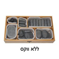 סט אבנים חמות ללא ווקס בקופסת במבוק