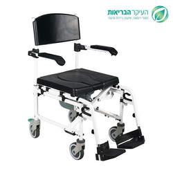 כסא רחצה ושרותים מתכוונן עם מושב רך