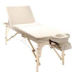 מיטת טיפולים מעץ עם גב מתרומם ומזרון עבה